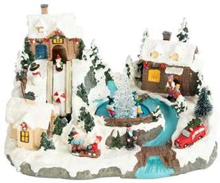 Mekanisk julelandskab - Stort med julelys og julemelodier 32x20x22cm