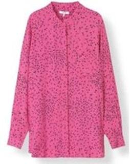 Rosa Ganni Ganni Barra Crepe Shirt - Hot Pink Bluse Og Skjorter