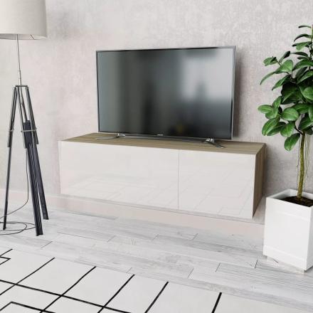 vidaXL TV-möbel spånskiva 120x40x34 cm ek och vit högglans