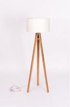 WANDA Stehlampe 45x140cm - Eschenholz / Weiß Lampenschirm - Weiß \ Transparent
