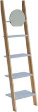 ASHME Leiterregal mit Spiegel 45x35x180cm - Hellgrau - Hellgrau