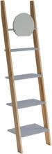 ASHME Leiterregal mit Spiegel 45x35x180cm - Dunkelgrau - Dunkelgrau