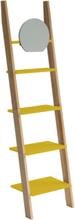 ASHME Leiterregal mit Spiegel 45x35x180cm - Gelb - Gelb