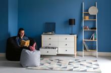 ASHME Leiterregal mit Spiegel 45x35x180cm - Holz Regale/Weiß - Weiß