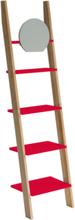 ASHME Leiterregal mit Spiegel 45x35x180cm - Rot - Rot