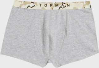 Topman 3 pack underwear in black grey and white with camo band-Multi