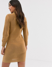 Brave Soul mandy roll neck jumper dress in camel-Tan