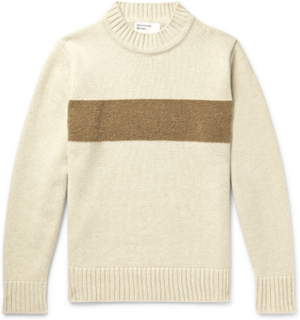 Universal Works - Striped Wool-blend Sweater - Neutrals - XL,Universal Works - Striped Wool-blend Sweater - Neutrals - S,Universal Works - Striped Wool-blend Sweater - Neutrals - M,Universal Works - Striped Wool-blend Sweater - Neutrals - L,Universal Work