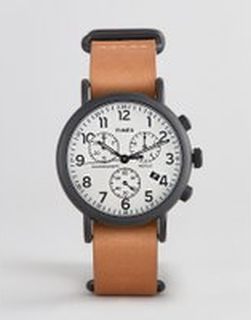 Timex Weekender chronograph leather watch 40mm exclusive to ASOS - Brown