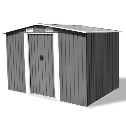 vidaXL opbevaringsskur til haven i grå metal 257 x 205 x 178 cm