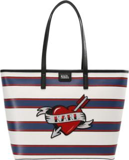 KARL LAGERFELD CAPTAIN KARL SHOPPER HEART Shopping bags white