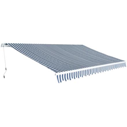 vidaXL foldemarkise manuel betjening 500 cm blå og hvid