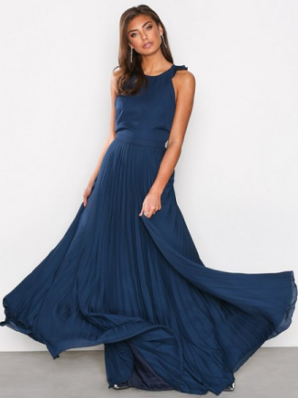 NLY Eve Pleated Frill Gown Navy