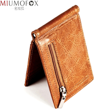 Male Genuine Leather Design Fashion Slim Wallet Zipper Front Pocket Men Money Clip Rfid Blocking Mini Purse Dollar Clip for Men