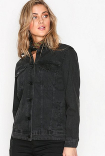 Noisy May Nmole L/S Black Denim Jacket Noos Denimjakker