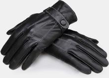 Schwarze winddichte PU-Leder Herrenhandschuhe mit Fahrradantrieb