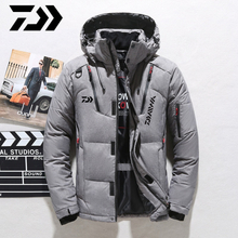 Daiwa White Duck Down DAIWA Fishing Jacket Warm Hooded Thick Puffer Jacket Coat Male High Quality Thermal Winter Fishing Clothes