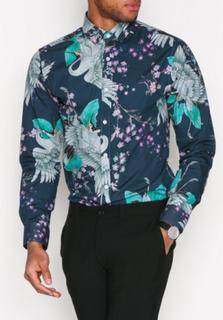 Selected Homme Shxonebuttler Shirt Ls Skjortor Mörk Blå