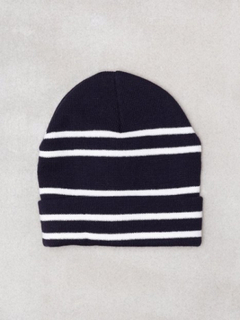 Topman Navy and White Stripe Beanie Luer navy/white