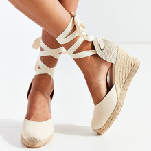 2020 Women's Espadrille Ankle Strap Sandals Comfortable Slippers Ladies Womens Casual Shoes Breathable Flax Hemp Canvas Pumps