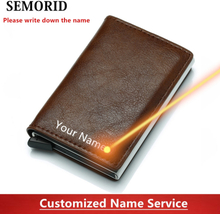 SEMORID 2020 Business ID Credit Card Holder Men and Women Metal RFID Vintage Aluminium Box PU Leather Card Wallet Note Carbon