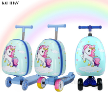 Cartoon scooter suitcase kids travel luggage on wheels ride children's carry on trolley luggage bag gift Skateboard Case Lazy