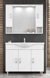 Möbelpaket Alba 100 - Vitt med spegelskåp