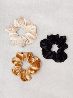 NLY Accessories Velvet Luxe Scrunchies Svart/Gull