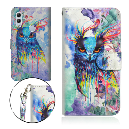 Huawei P Smart 2019 light spot décor leather flip case - Colorful Owl