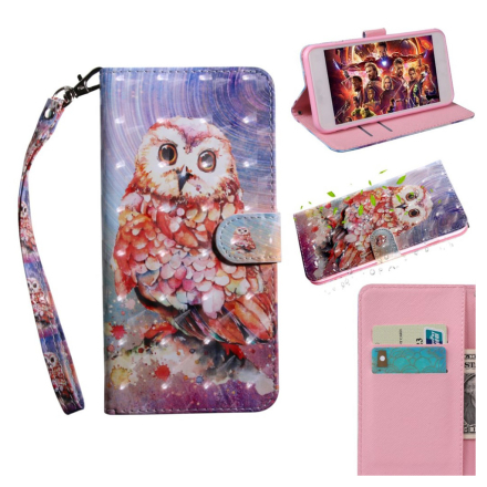 Huawei P Smart 2019 light spot décor leather flip case - Owl
