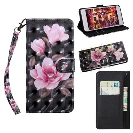 Huawei P Smart 2019 light spot décor leather flip case - Pink Flowers