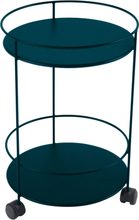 Fermob - Guinguette Wheeled Side Table Ø40 cm, Acapulco Blue