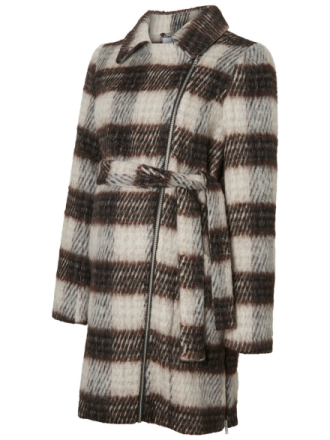 MAMA.LICIOUS 2-i-1 Checked Coat Women Grey