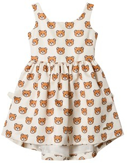 Moschino Kid-Teen Cream Bear Print Party Dress 10 years
