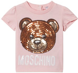 Moschino Kid-Teen Pink Sequin Bear and Logo Tee 3-6 months