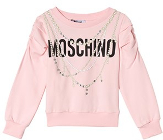 Moschino Kid-Teen Black Pearl Print and Logo Ruched Sleeve Sweatshirt 10 years