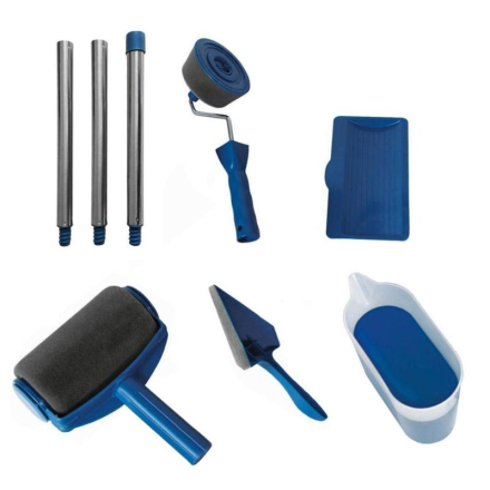 5/8pcs DIY Paint Runner Pro Roller Brush Tools Set Handle Flocked Edger Office Home Room Wall Painting Roller Paint Brush Sets
