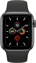 Apple Watch Series 5 GPS - 44mm Space Grau Aluminum Case mit Schwarz Sport Band and gehärtetem Glas Displayschutzfolie - MWVF2