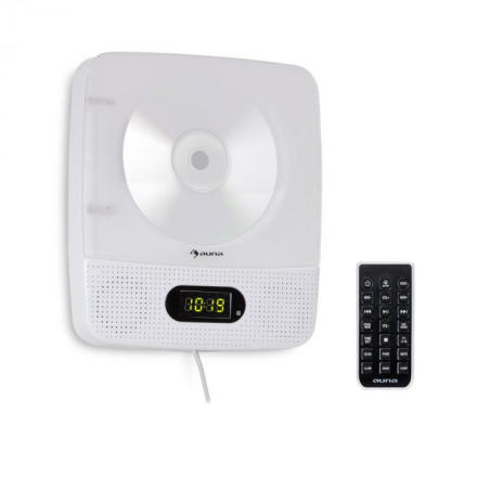 Vertiplay CD-spelare Bluetooth nattlampa FM-radio AUX digitalklocka vit