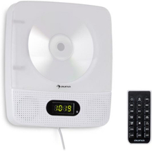 Vertiplay CD-spelare Bluetooth nattlampa FM-radio AUX digitalklocka vit