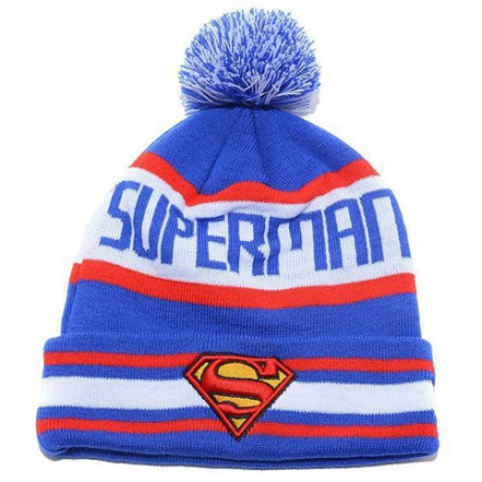 Stylish Small Ball Superman Mark Embroidery Letter Pattern Men and Women's Knitted Beanie