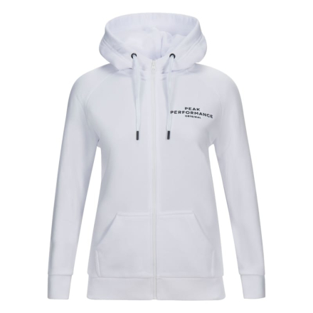 Peak Performance Women's Logo Cotton Blend Zip-Up Hoodie Dam Tröja Vit L