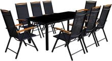 vidaXL Matgrupp för trädgården m. hopfällbara stolar 9 delar aluminium