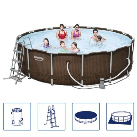 Bestway swimmingpool-sæt med rund stålramme 427x107 cm 56647