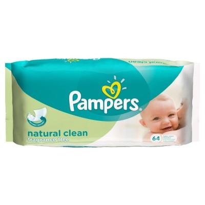 Pampers Natural Clean Baby-Feuchttücher Parfümfrei 64 stk