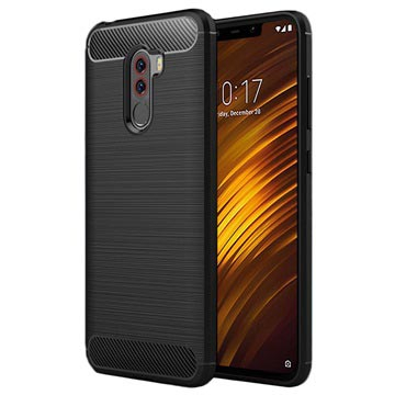 Xiaomi Pocophone F1 Børstet TPU Case - Karbonfiber - Sort