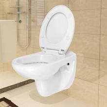 vidaXL Vägghängd toalett med mjuk stängning keramik vit