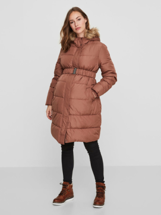 MAMA.LICIOUS Padded Maternity Coat Women Beige
