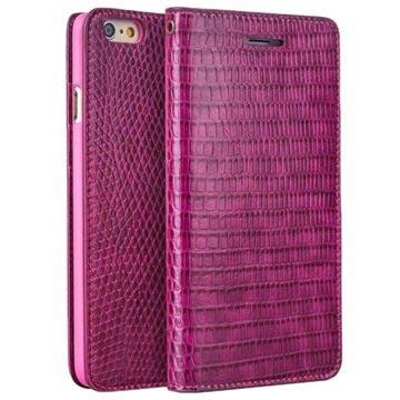 iPhone 6 / 6S Qialino Pung Læder Taske - Krokodilleskinds - Hot Pink