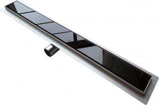 Afløbsrende i rustfri stål med sort glas 60 cm